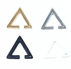 silverKYASYA 三角イヤーカフ トライアンクルイヤーカフ 色四種類(ゴールド シルバー ホワイト ブラック) 三角イヤリング トライアンクルイヤリング
