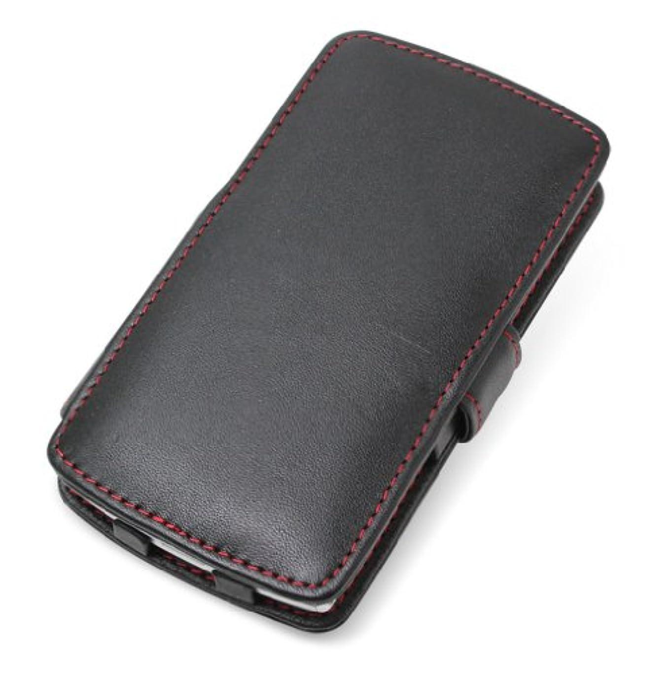 支配する深く甘くするミヤビックス PDAIR レザーケース for MEDIAS ES N-05D 横開きタイプ(ブラック/レッドステッチ) PALCN05DB/BL/RD