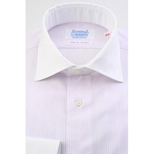 (スキャッティ) Scented ラベンダー地 ドビーストライプ 綿100% クレリック ワイドカラー (細身) ドレスシャツ wd4158-4185