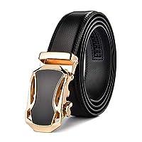 メンズレザーベルト自動ラチェットベルト本物の牛革ビジネスカジュアルファッションバックル2色オプション、スリム仕立て (色 : 1#, サイズ さいず : 120cm)