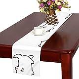 GGSXD テーブルランナー 面白い 白い猫 クロス 食卓カバー 麻綿製 欧米 おしゃれ 16 Inch X 72 Inch (40cm X 182cm) キッチン ダイニング ホーム デコレーション モダン リビング 洗える