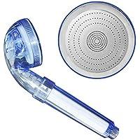 ポータブルサイズホームバスルーム高圧力シャワーヘッドPVC三歯車節約PPコットンフィルターシャワーヘッド(カラー:透明青)