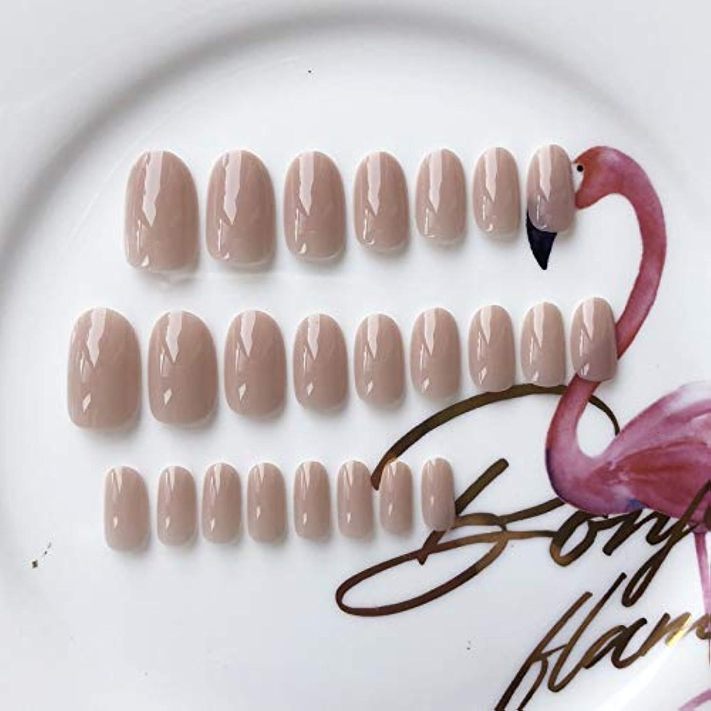 XUANHU HOME 24個のエレガントなブライダルソリッド反抗的なヌード楕円ショートフルカバー偽爪と接着剤ステッカーとミニファイル