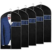 ALINK 43 inch Black Foldable Breathable Garment Cover Suit Bags for Storage and Travel with Clear Window for Suit, Jacket, Skirt, Shirt and Coat, Set of 5