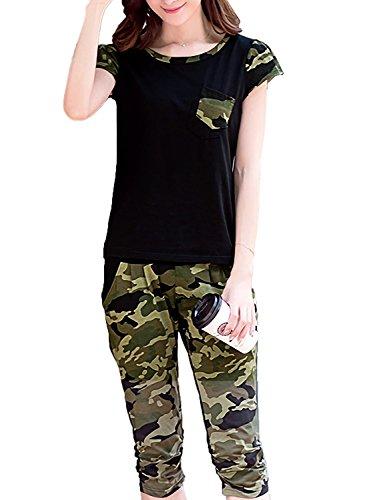 Monoa(モノア) ジャージ 上下セット レディース スウェット 半袖 シャツ 七分丈 パンツ 迷彩柄 部屋着 セット ブラック XXL