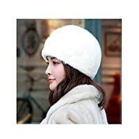 HJRD [保護耳]冬の暖かい水たてがみハット全体スエードレディースハット毛皮 (Color : C, Size : S(53-55cm))