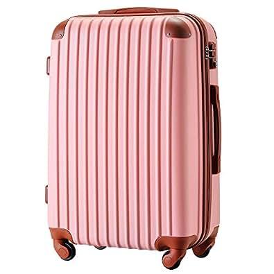 [トラベルハウス] Travelhouse スーツケース 超軽量 TSAロック搭載 【一年修理保証】 ABS 半鏡面仕上げ4輪 ファスナータイプ ss型国内・国際線機内持込可 (19色4サイズ) suitcase (SS, ピンク+ブラウン)