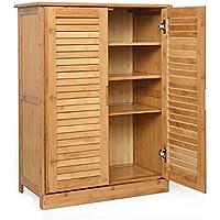 靴箱_ダブルドア5層の固体木の竹の靴のキャビネット、多層の簡単な家庭の多機能ストレージキャビネット