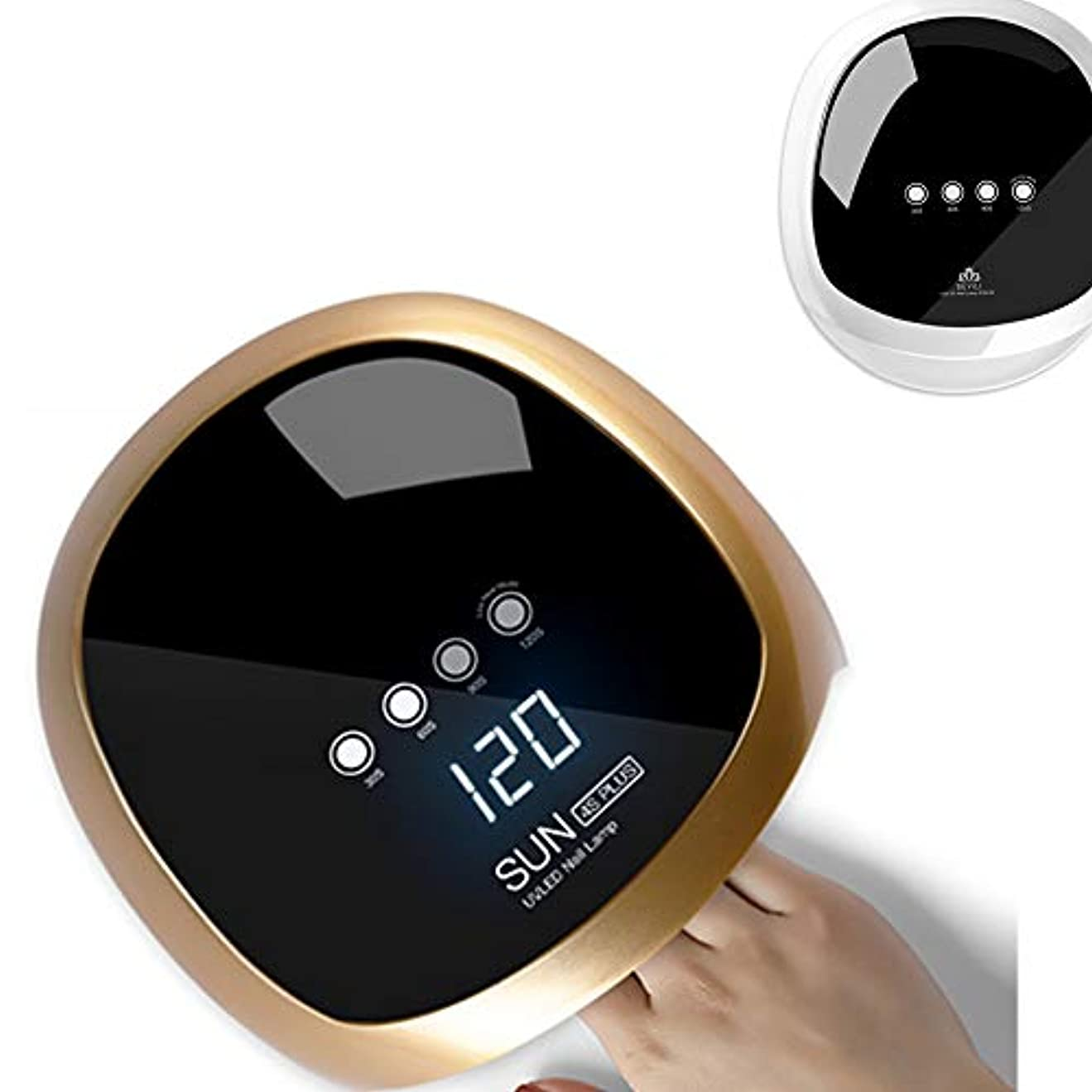 適切な予測子乞食ジェルネイル UV LED ライト ネイル ネイルドライヤー 赤外線検知 4段階タイマー設定可能 手足兼用 (Gold)