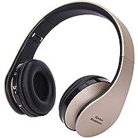 Volcano Bluetoothヘッドホン ワイヤレス 密閉型 ヘッドセット 内蔵マイク付き 折り畳み 3.5mm充電ケーブル 高い装着感/通話機能/音楽再生/360度調整可能 (金)