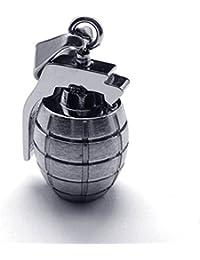 [テメゴ ジュエリー]TEMEGO Jewelry メンズステンレススチールヴィンテージペンダントゴシックグレネードネックレス、シルバー[インポート]