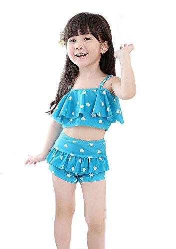 807574ea538b9d 子供水着 ハート柄 女の子 女児 上下セット 3色入り 紺/レッド/ブルー