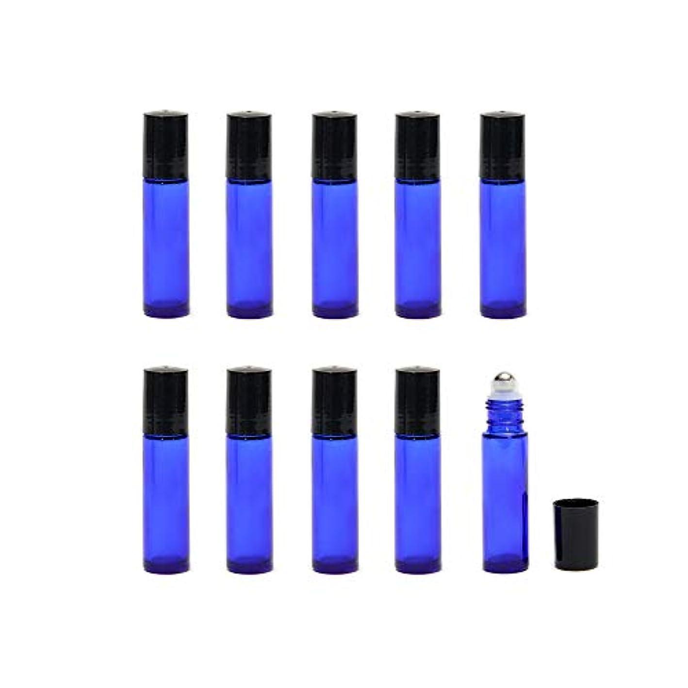 嵐褐色誤解する10ml 遮光瓶 ロールオンボトル アロマオイル ガラスロール 詰め替え 容器 エッセンシャルオイル ビン ブルー (24本セット+スポイト3ml×4)