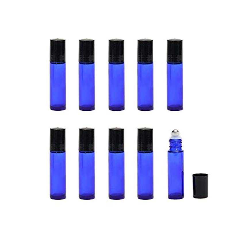 暴動穿孔する観察する10ml 遮光瓶 ロールオンボトル アロマオイル ガラスロール 詰め替え 容器 エッセンシャルオイル ビン ブルー (24本セット+スポイト3ml×4)