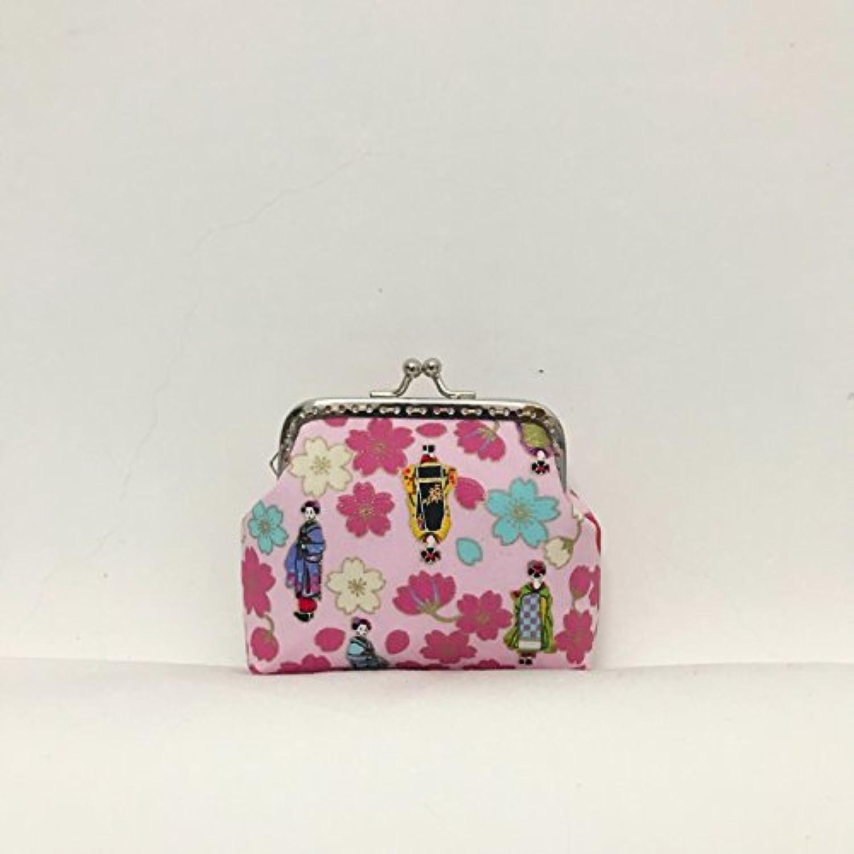 Pink&Brown 手作りで在庫2だけ 口金バッグ がま口 和柄財布 小銭入れ カード入れ 化粧品収納 レディス 可愛い 和物