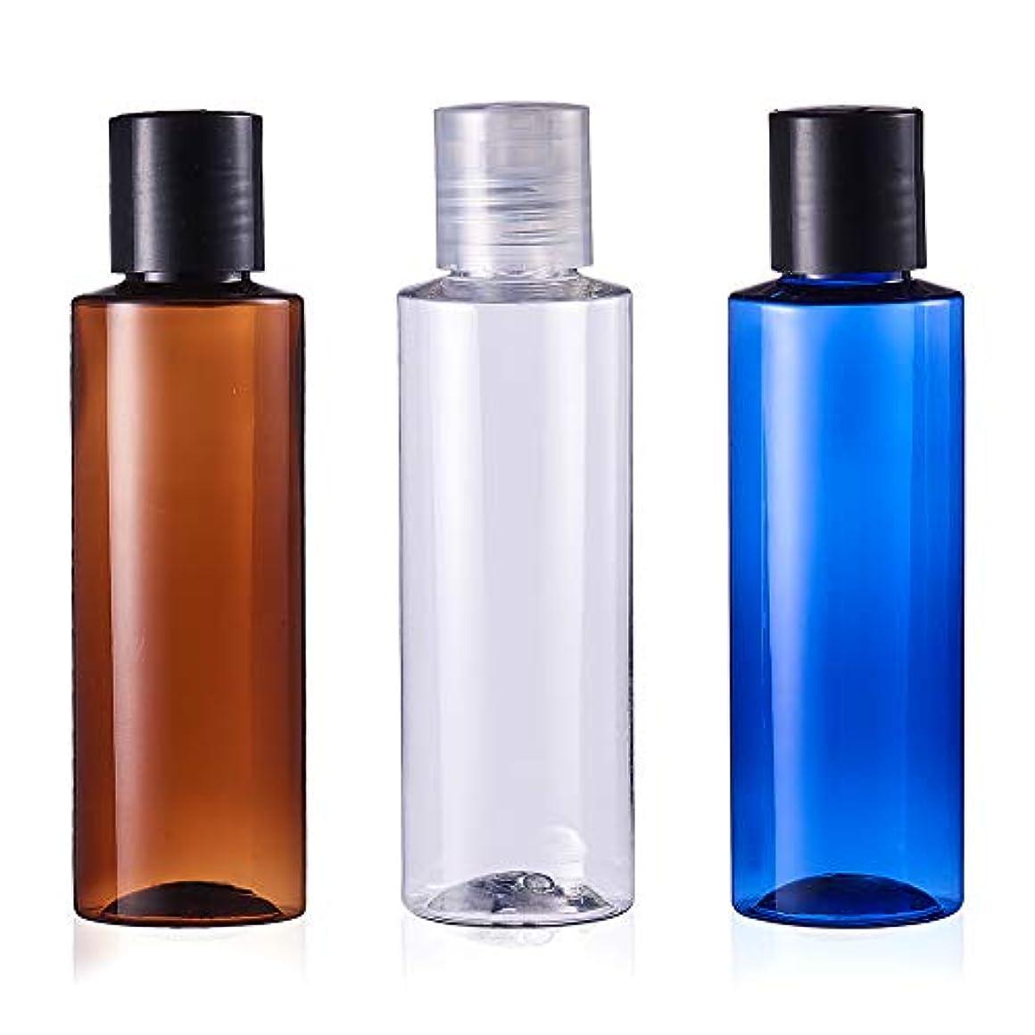 広く健康黒人BENECREAT 120mlプレスキャップボトル 6個セット3色小分けボトル プラスチック容器 液体用空ボトル 押し式詰替用ボトル 詰め替え シャンプー クリーム 化粧品 収納瓶