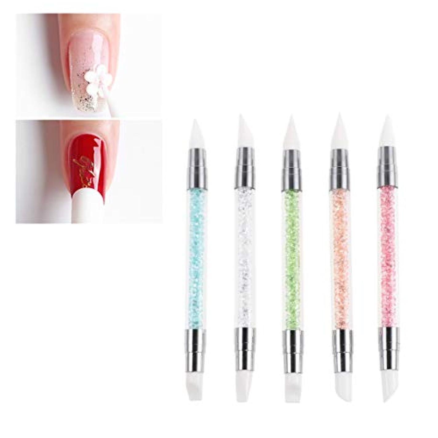 拡散する所属落胆したLurrose 5ピースドリルパイプネイルアートペン耐久性のあるポータブル軽量クリエイティブダブルヘッドドットネイルアートペン用女性ネイルアートサロン