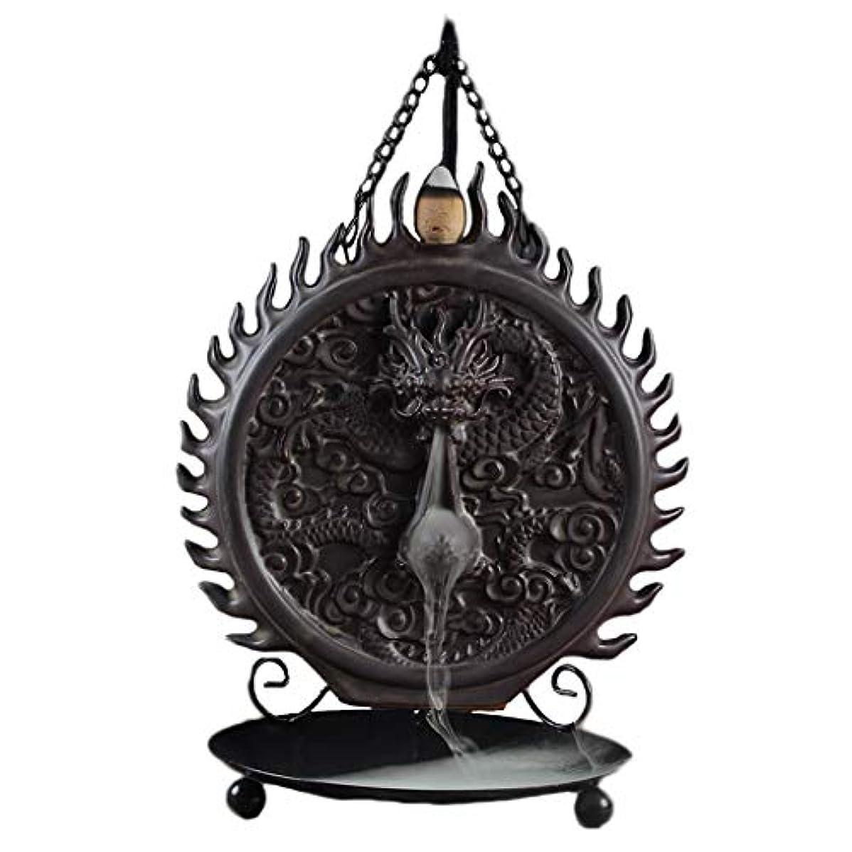 つぶす砲兵アジア人セラミックハンギング香炉バックフロードラゴンディスクホーム炉装飾香ホルダーアロマセラピー香バーナーホルダー (Color : Black, サイズ : 6.29*9.44inches)