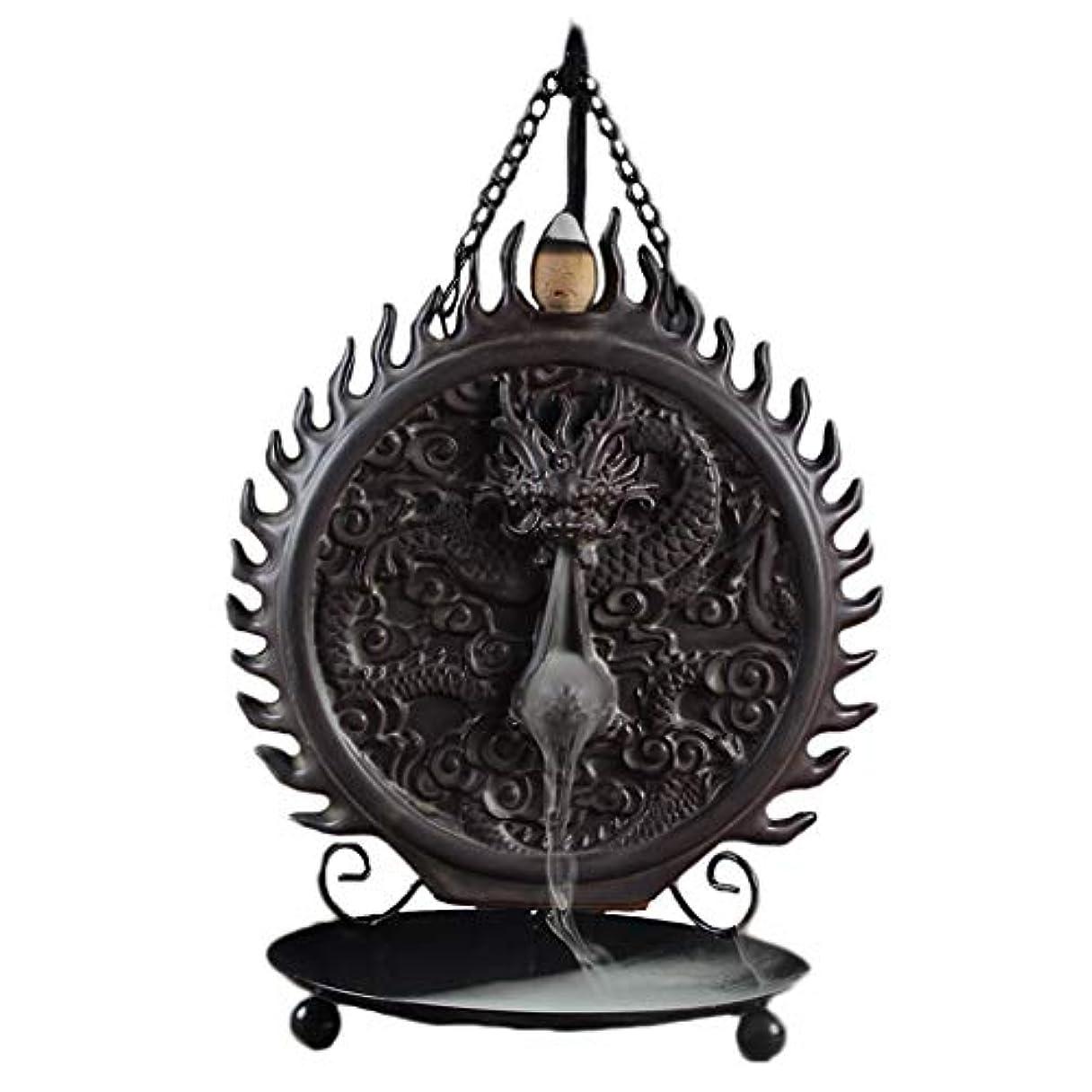 方程式試用便益セラミックハンギング香炉バックフロードラゴンディスクホーム炉装飾香ホルダーアロマセラピー香バーナーホルダー (Color : Black, サイズ : 6.29*9.44inches)