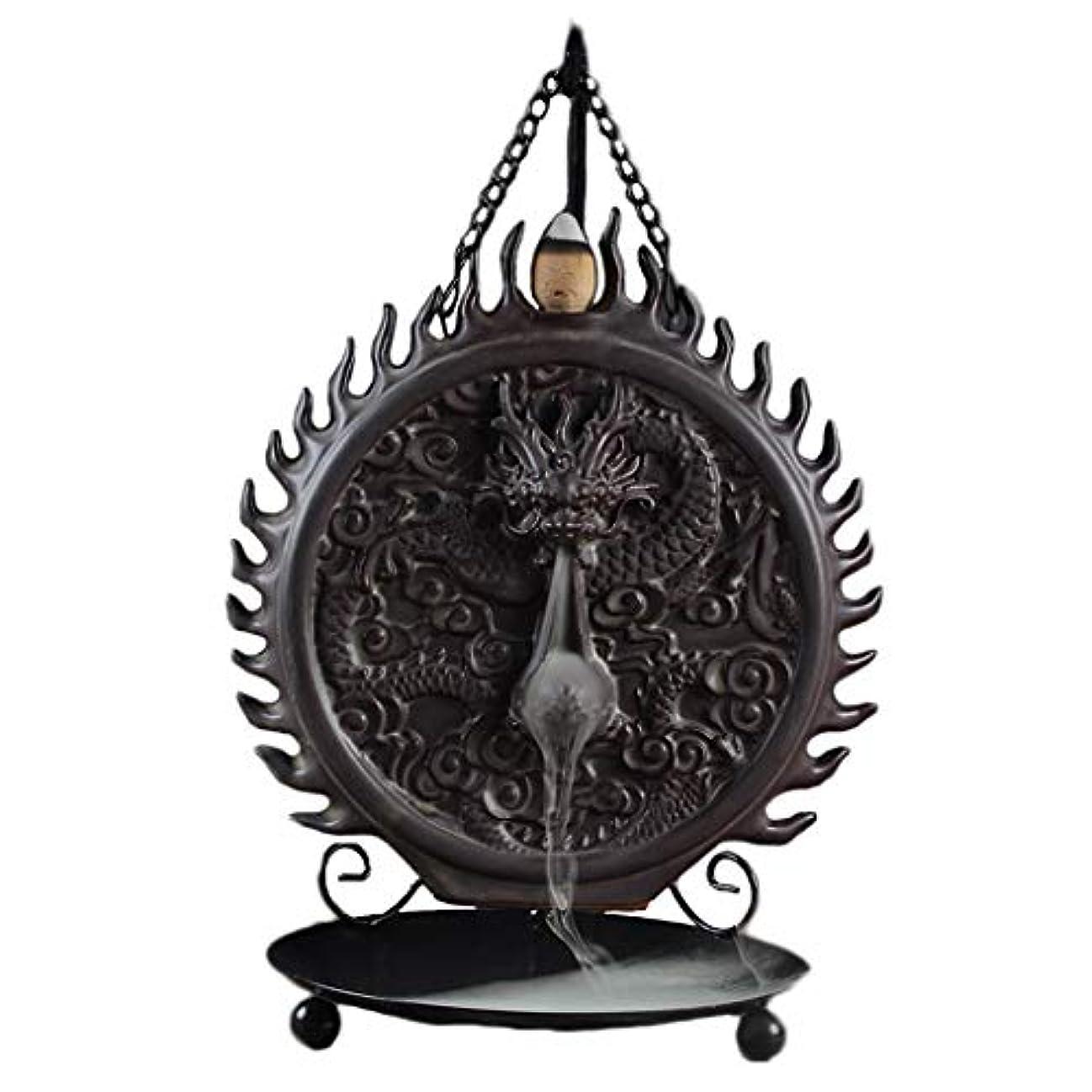 放出カートンシャーセラミックハンギング香炉バックフロードラゴンディスクホーム炉装飾香ホルダーアロマセラピー香バーナーホルダー (Color : Black, サイズ : 6.29*9.44inches)