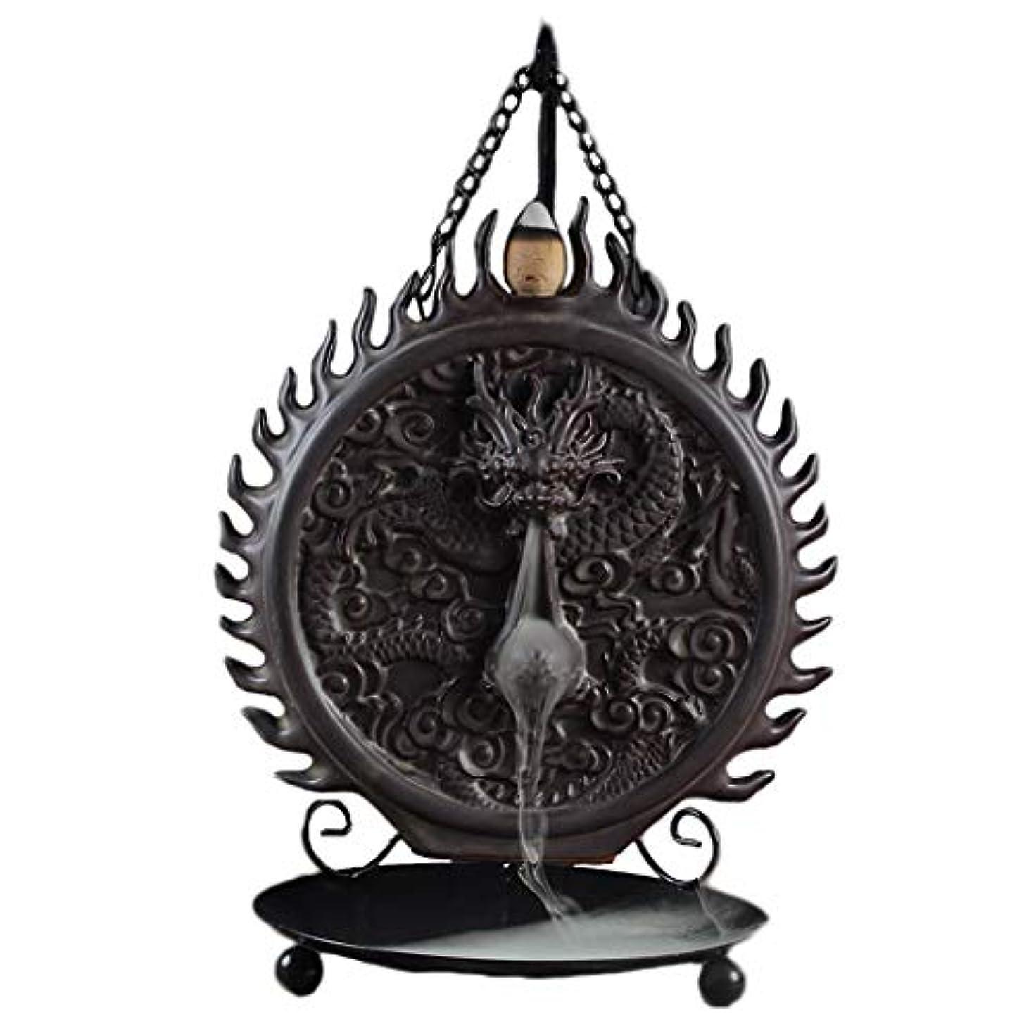 必要とする崇拝するドナウ川セラミックハンギング香炉バックフロードラゴンディスクホーム炉装飾香ホルダーアロマセラピー香バーナーホルダー (Color : Black, サイズ : 6.29*9.44inches)