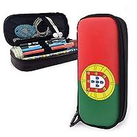 Portugal Flag ペンケース 筆箱 皮革 文具収納 鉛筆のサック大容量 おしゃれ 高校生 多機能 収納バッグ 学生 の矢立て 小物入れ 携帯用