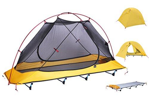 アウトドア ベッド、DESERT WALKER 折りたたみ式ベッド キャンピングベッド, 軽量1.3KG、耐荷重:200KG 収納袋付き、3色入り(グリーン、ブルー、グレー) (黄)