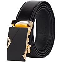 Muncaso Men's Belt Lether Ratchet Belt With Automatic Buckle