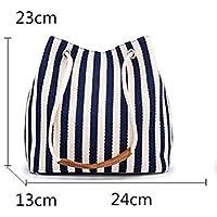 Durable Bag Female Canvas Vertical Stripes Neverfull Shoulder Bag Commuting Bucket Vacation Shopping Handbag (Blue)