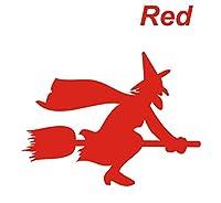 カッティングステッカー 赤 カッティングシール 魔女3 ソーサラー sorcerer 飛行 ほうき 箒