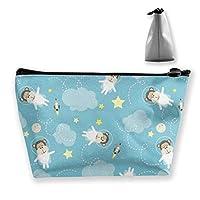 モンキー宇宙飛行士 収納ポーチ 化粧ポーチ トラベルポーチ 小物入れ 小財布 防水 大容量 旅行 おしゃれ