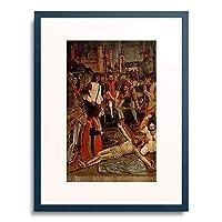 Meister der Kreuzabnahme von Pavia 「Christus wird ans Kreuz genagelt.」 額装アート作品