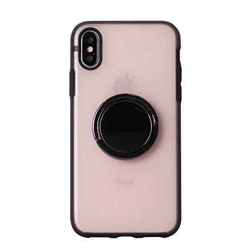 BEGALO iPhoneX ハンドスピナー 指スピナー バンカーリング付 ケース 落下防止 360度回転 スタンド ストレス解消 ピンク HDSP-IPX-PNK201