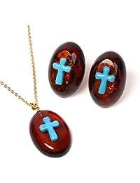 ターコイズ 琥珀 琥珀 ネックレス ペンダントトップ ピアス イヤリング 2点セット バルト産レッドアンバー 赤色 十字架 K18 チェーン別売り 商品番号 1179