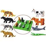 【ToyPopBlock日本正規代理店】 LEGO レゴ 互換 動物 8種類 セット 限定基礎板付(緑) 組立簡単 プレゼントに最適
