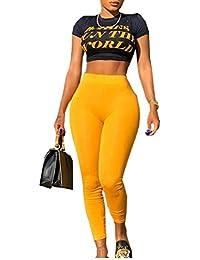 Keaac 女性半袖作物トップボディーコンロングパンツTracksuit