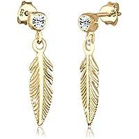 Elli Women Feather Boho Hippie Swarovski® Crystals 925 Sterling Silver Earrings