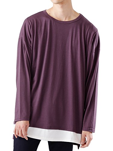 (モノマート) MONO-MART ワイドシルエット 裾 フェイクレイヤード ヘムライン ロング丈 カットソー BIG メンズ