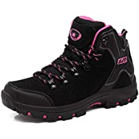 FEOZYZ Womens Hiking Boots Trekking Shoes Anti-Collision mid Heel Non-Slip Climbing Boots