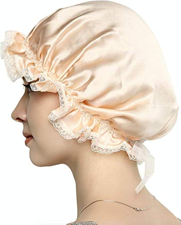 頬骨に話すショッピングセンターOrange Ananas シルク ナイトキャップ 天然シルク100% シルクナイトキャップ ナイト ヘアキャップ ロングヘア ロング 用 レディース キャップ レース付き ベビーピンク