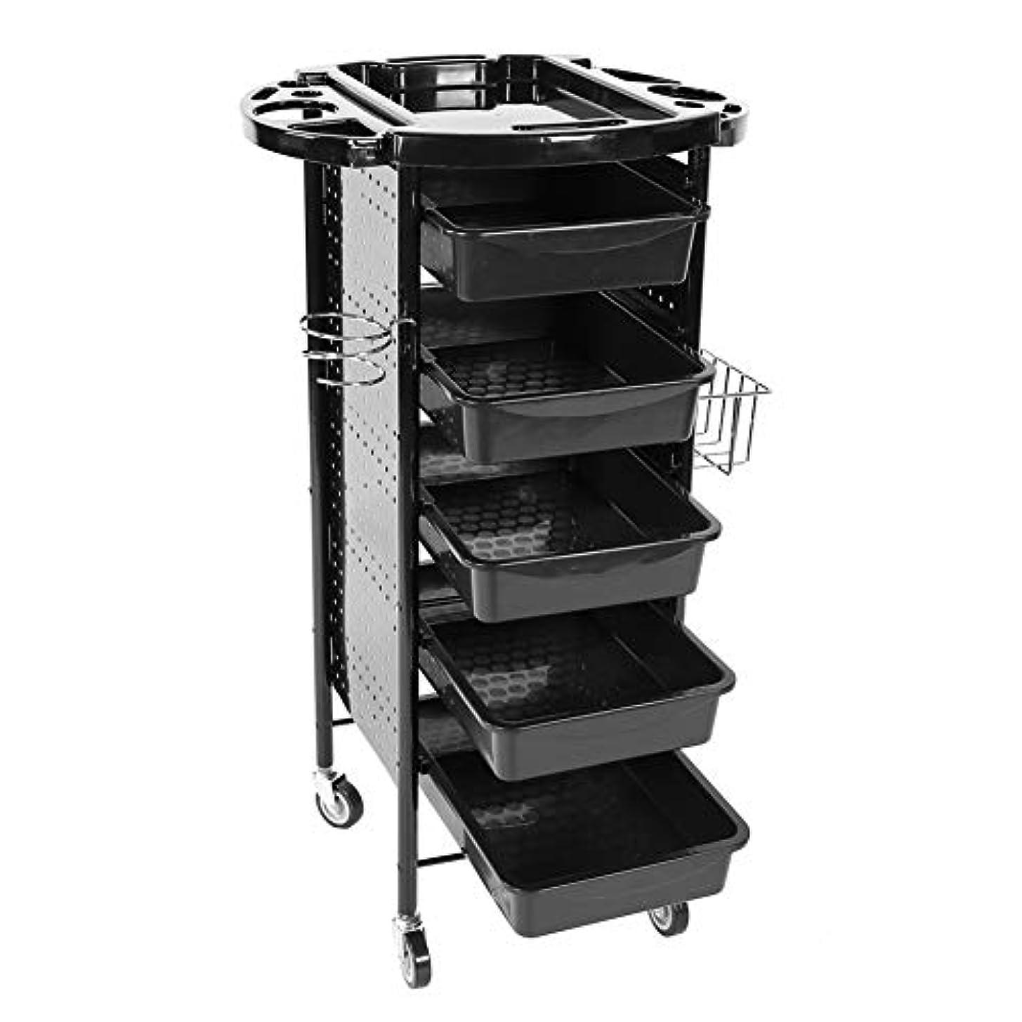 格納フォーム火山学者美容院、美容院、美容院のための車輪が付いている専門の6つの層の貯蔵の棚のトロリーカート