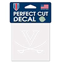 NCAA University of Virginia Cavaliersホワイト4 x 4インチPerfect Cut Decal