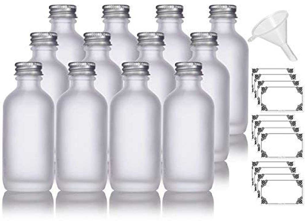 平和フリンジ熱2 oz Frosted Clear Glass Boston Round Silver Screw On Cap Bottle (12 pack) + Funnel and Labels for cosmetics, serums, essential oils, aromatherapy, food grade, bpa free [並行輸入品]