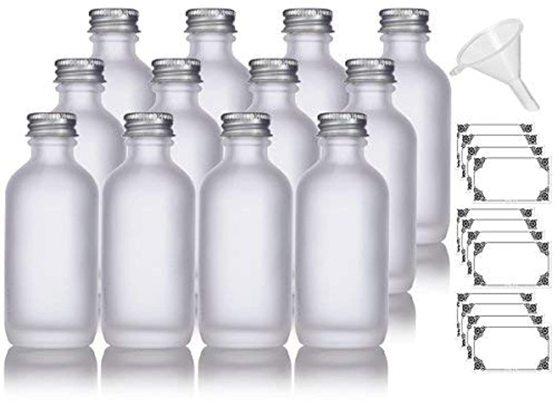 キルトお客様不安定な2 oz Frosted Clear Glass Boston Round Silver Screw On Cap Bottle (12 pack) + Funnel and Labels for cosmetics,...