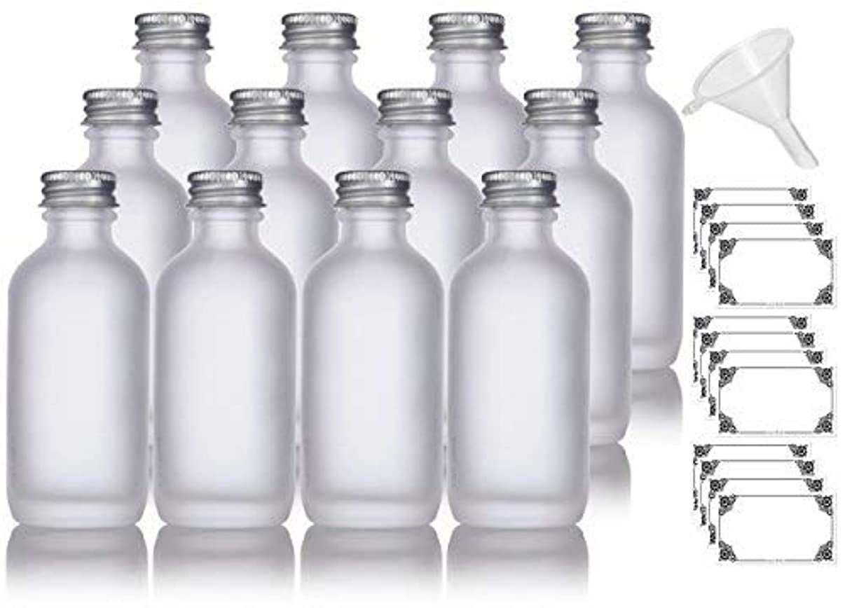 ランドマーク賠償コンドーム2 oz Frosted Clear Glass Boston Round Silver Screw On Cap Bottle (12 pack) + Funnel and Labels for cosmetics,...