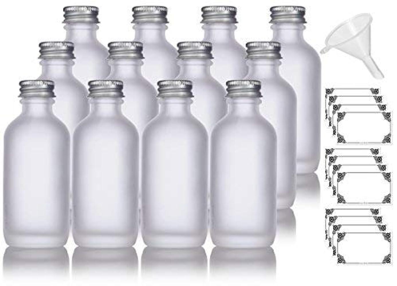 幻滅する暗殺者定期的2 oz Frosted Clear Glass Boston Round Silver Screw On Cap Bottle (12 pack) + Funnel and Labels for cosmetics, serums, essential oils, aromatherapy, food grade, bpa free [並行輸入品]