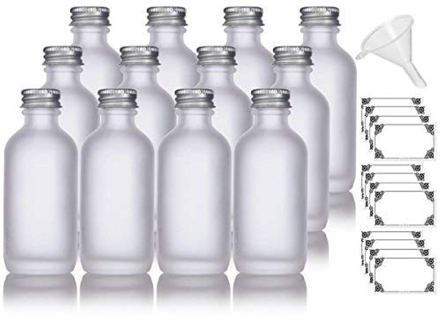 びっくりする見出しネックレット2 oz Frosted Clear Glass Boston Round Silver Screw On Cap Bottle (12 pack) + Funnel and Labels for cosmetics,...