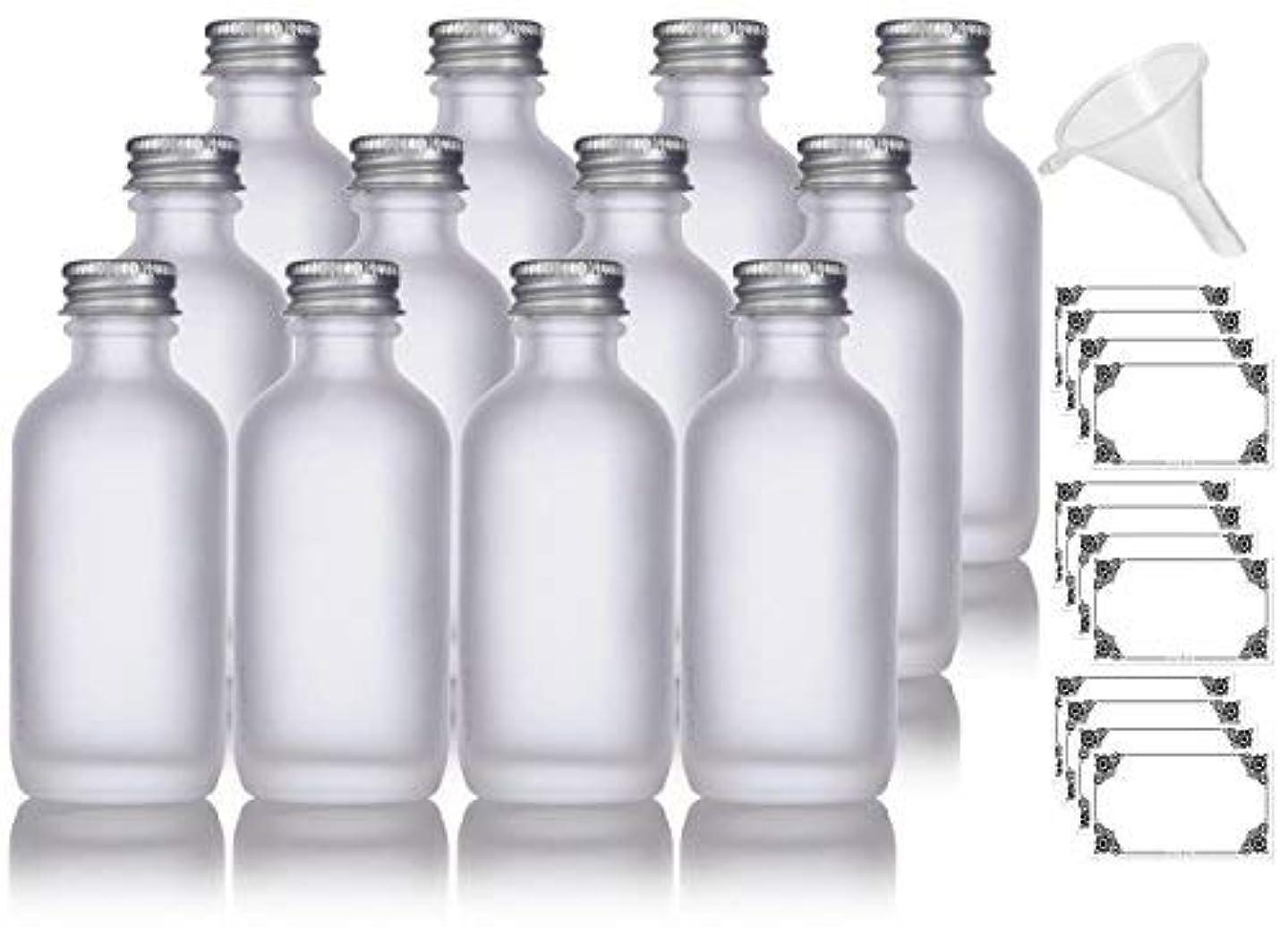 アラスカかみそり机2 oz Frosted Clear Glass Boston Round Silver Screw On Cap Bottle (12 pack) + Funnel and Labels for cosmetics,...