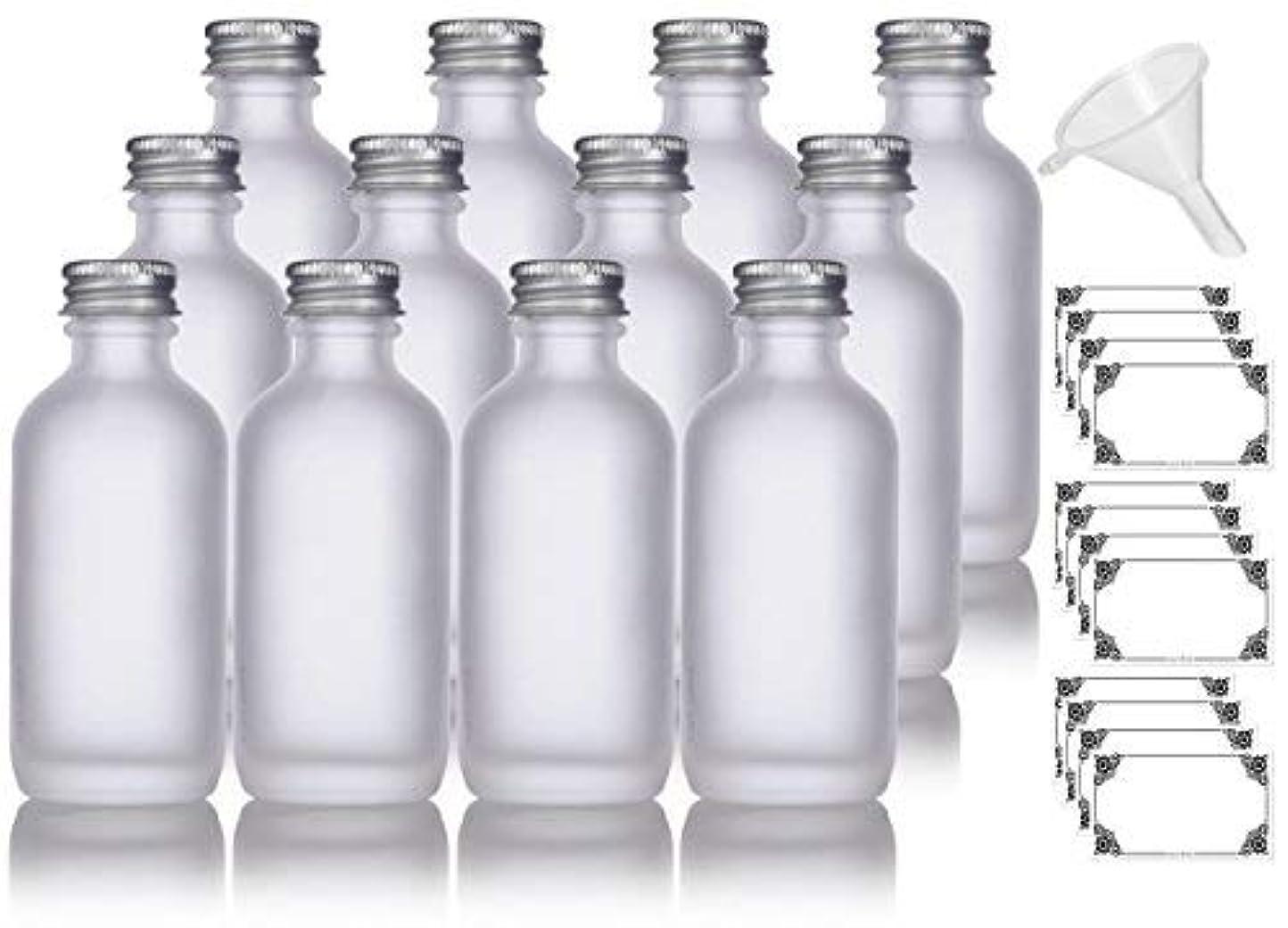浴室一緒に悪質な2 oz Frosted Clear Glass Boston Round Silver Screw On Cap Bottle (12 pack) + Funnel and Labels for cosmetics,...
