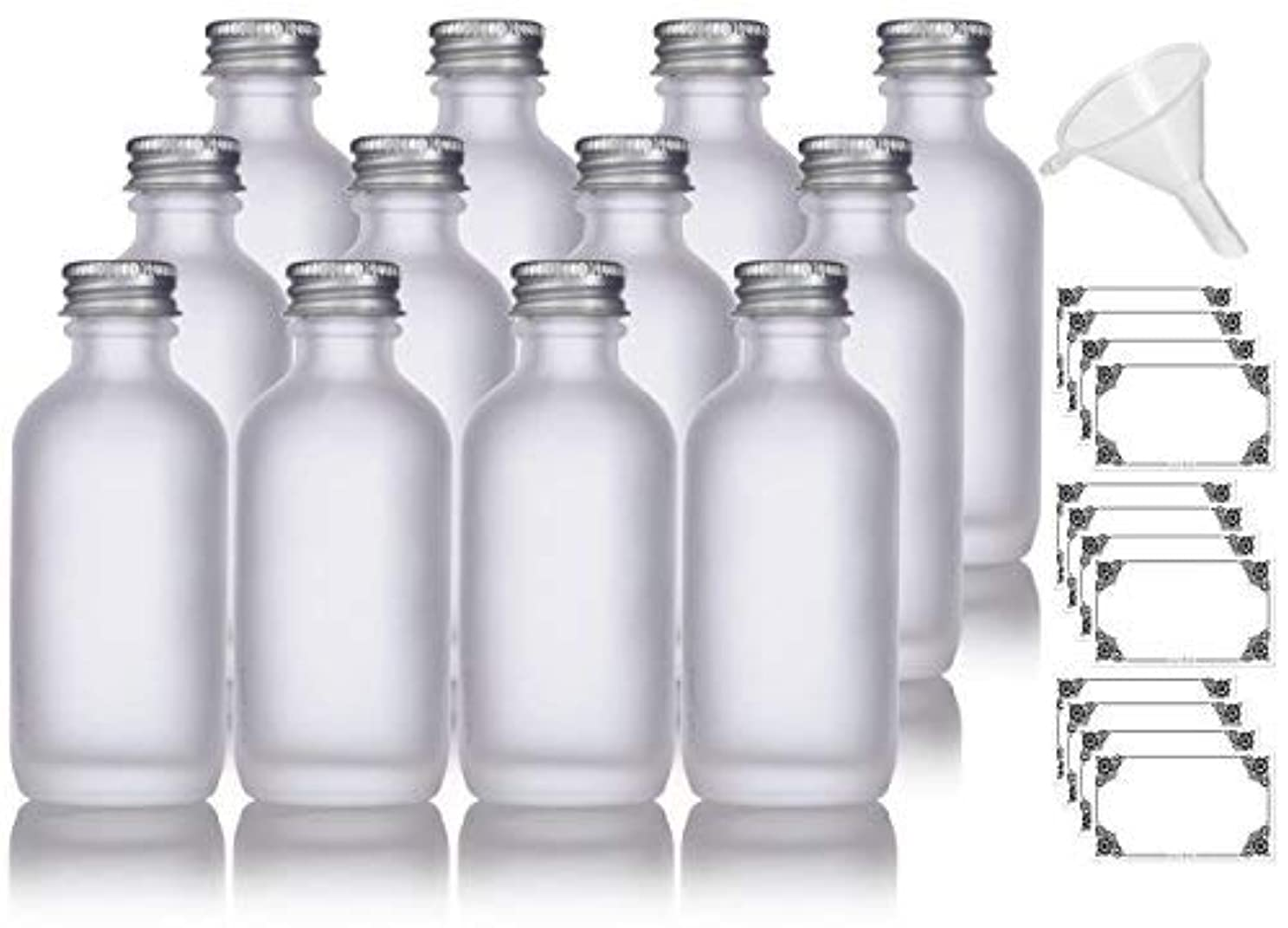 第九かすれた多くの危険がある状況2 oz Frosted Clear Glass Boston Round Silver Screw On Cap Bottle (12 pack) + Funnel and Labels for cosmetics,...